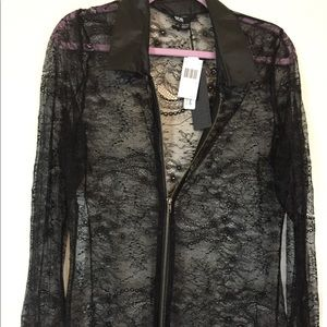 Black lace and a faux leather collar zip up blouse